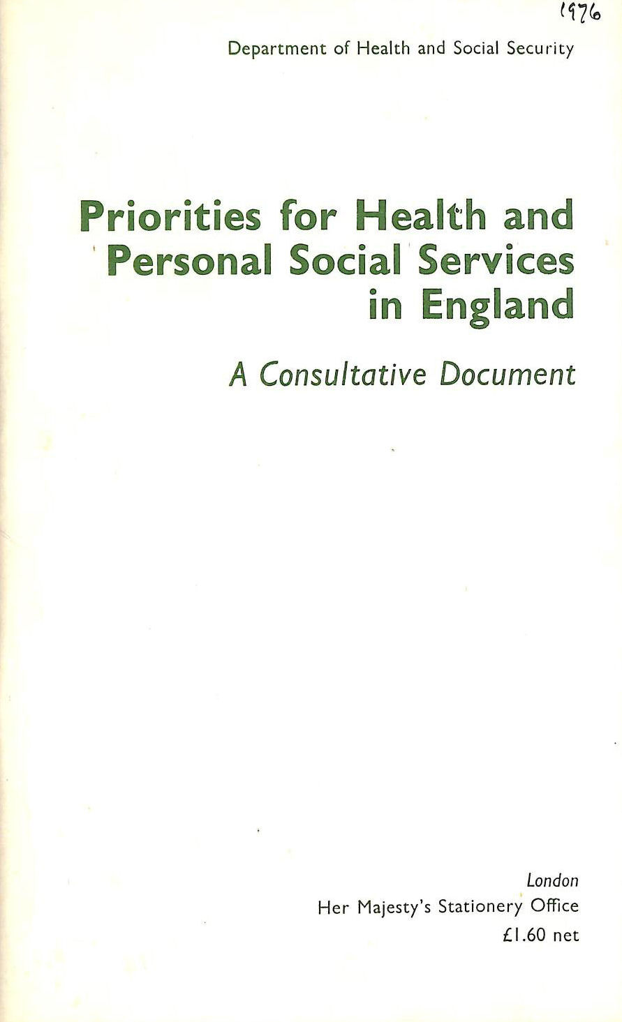 Image for Priorities for Health and Personal Social Services in England