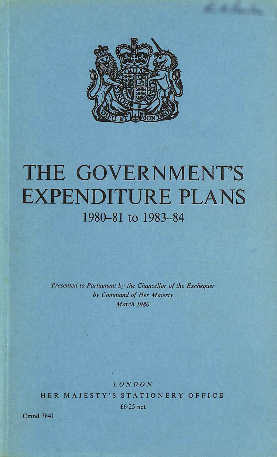 Image for Government's Expenditure Plans 1980-81 to 1983-84 (Command 7841)