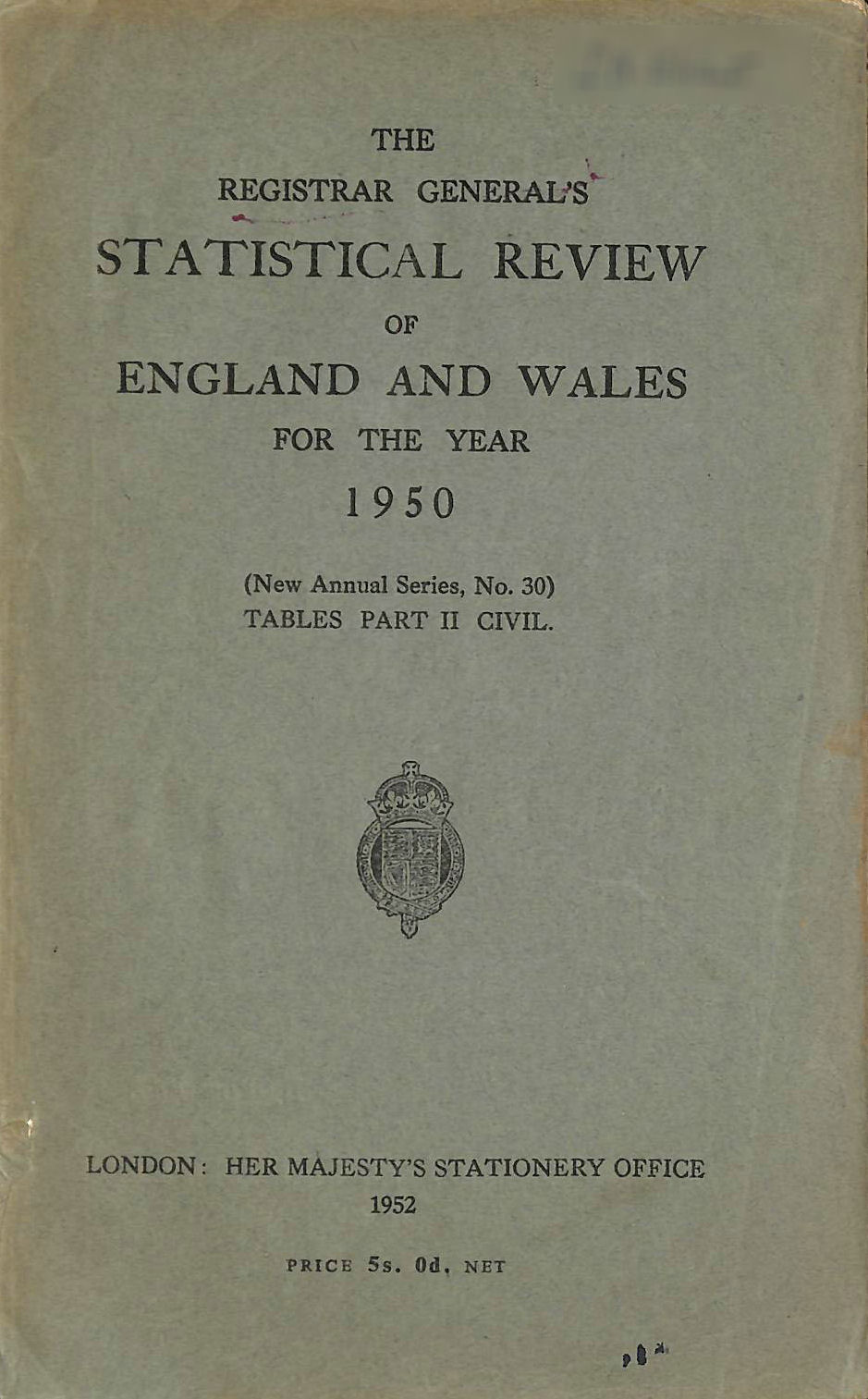 Image for Statistical Review of England and Wales for 1950 Tables Part II Civil