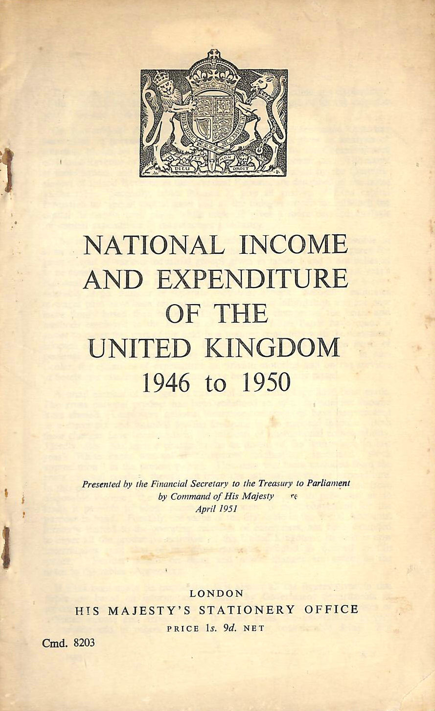 Image for National Income and Expenditure of the United Kingdom 1946 to 1950.