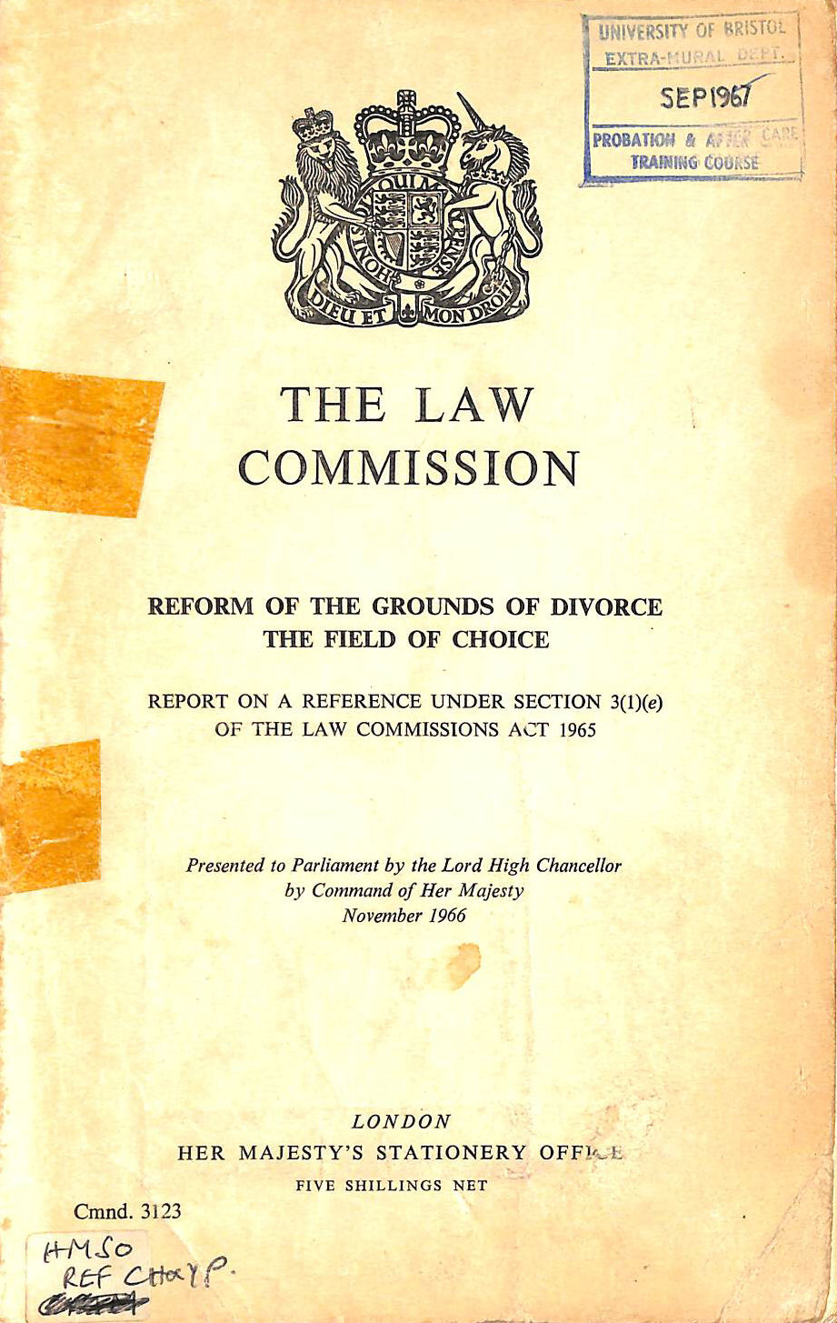 Image for Reform on the grounds of divorce: The field of choice:report on a reference under section 3 (1) (e) of the Law Commissions Act 1965 (Cmnd.3123)