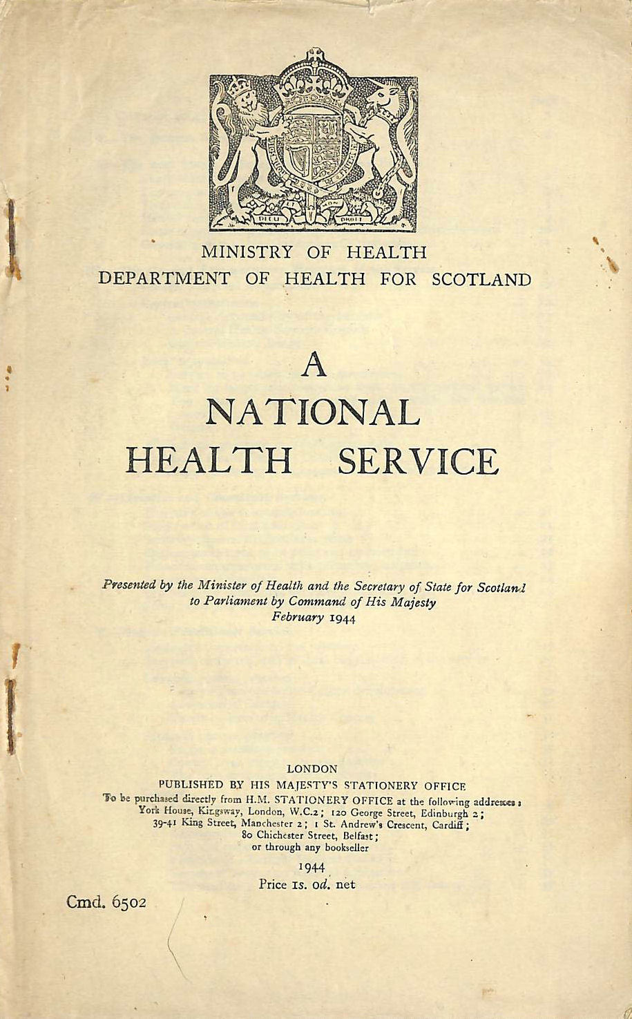 Image for A National Health Service (Dept of Health for Scotland)
