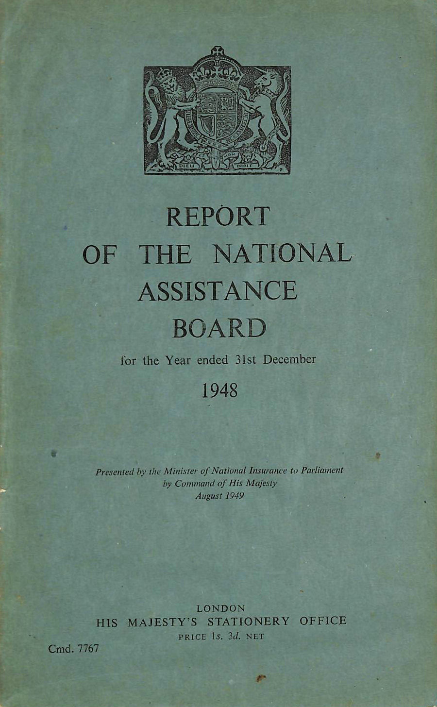 Image for Report of the National Assistance Board 1948