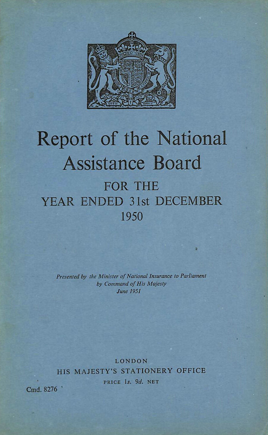 Image for Report of the National Assistance Board 1950
