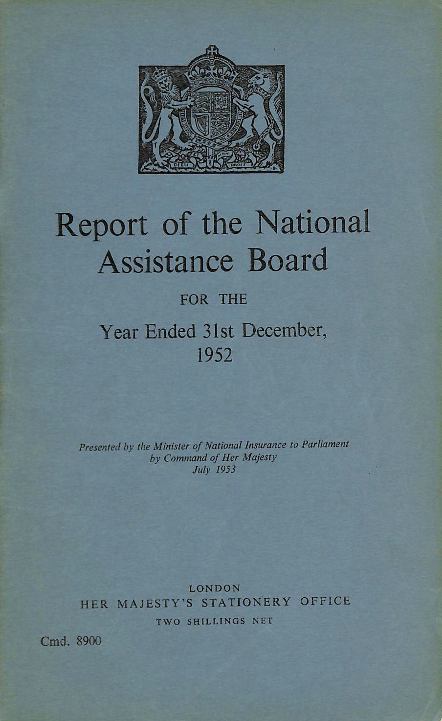 Image for Report of the National Assistance Board 1952