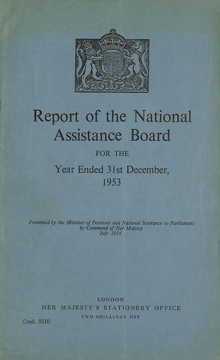 Image for Report of the National Assistance Board 1953
