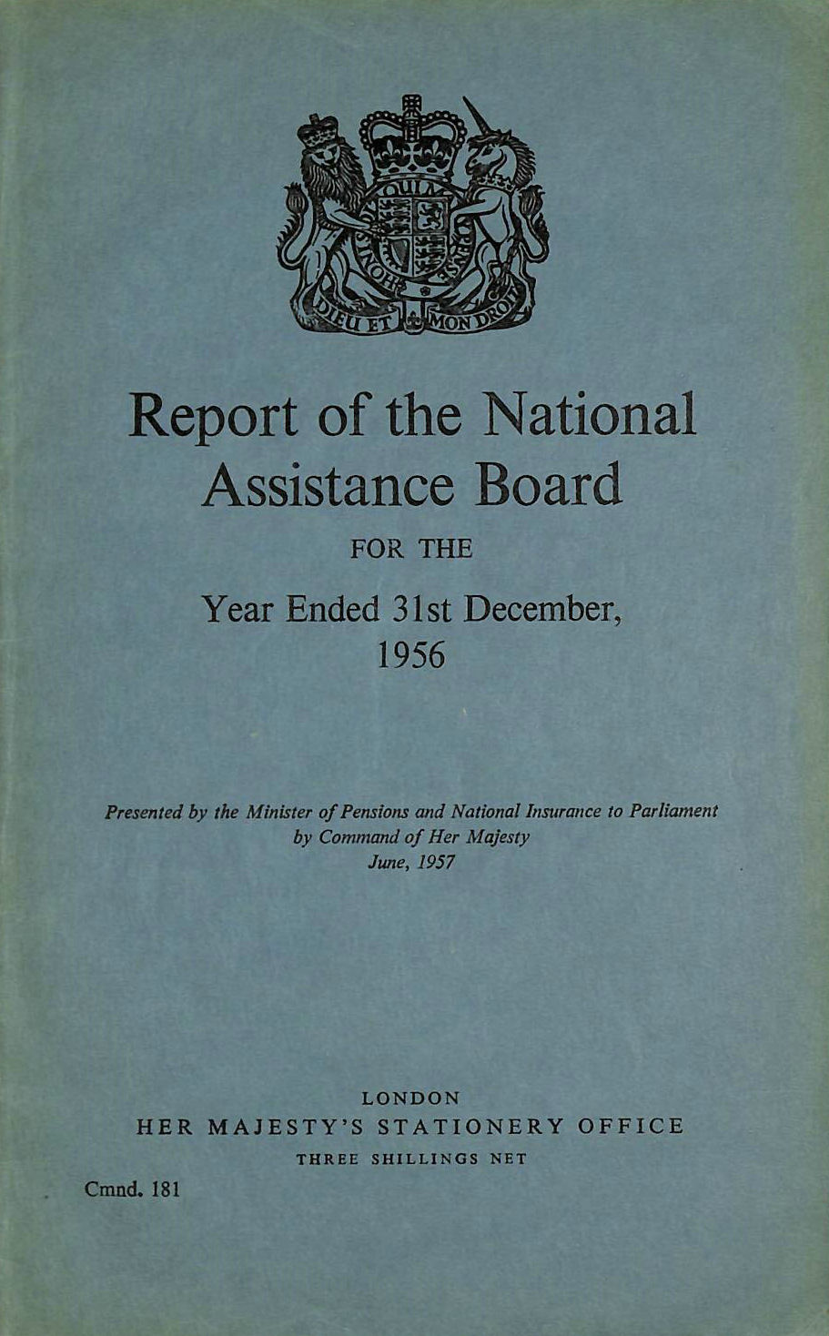 Image for Report of the National Assistance Board 1956