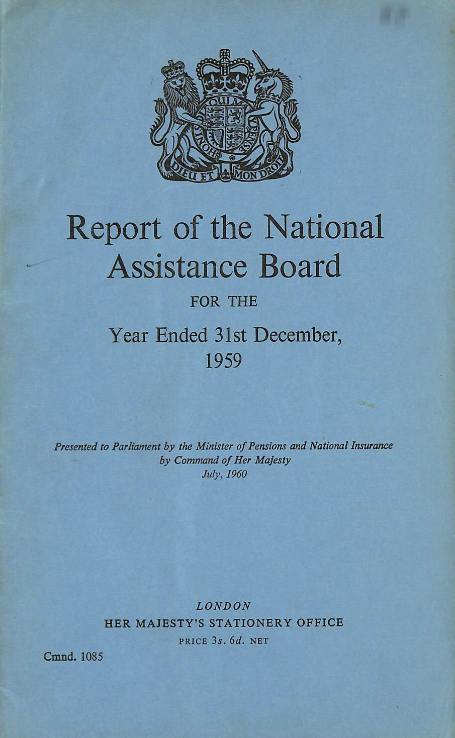 Image for Report of the National Assistance Board 1959
