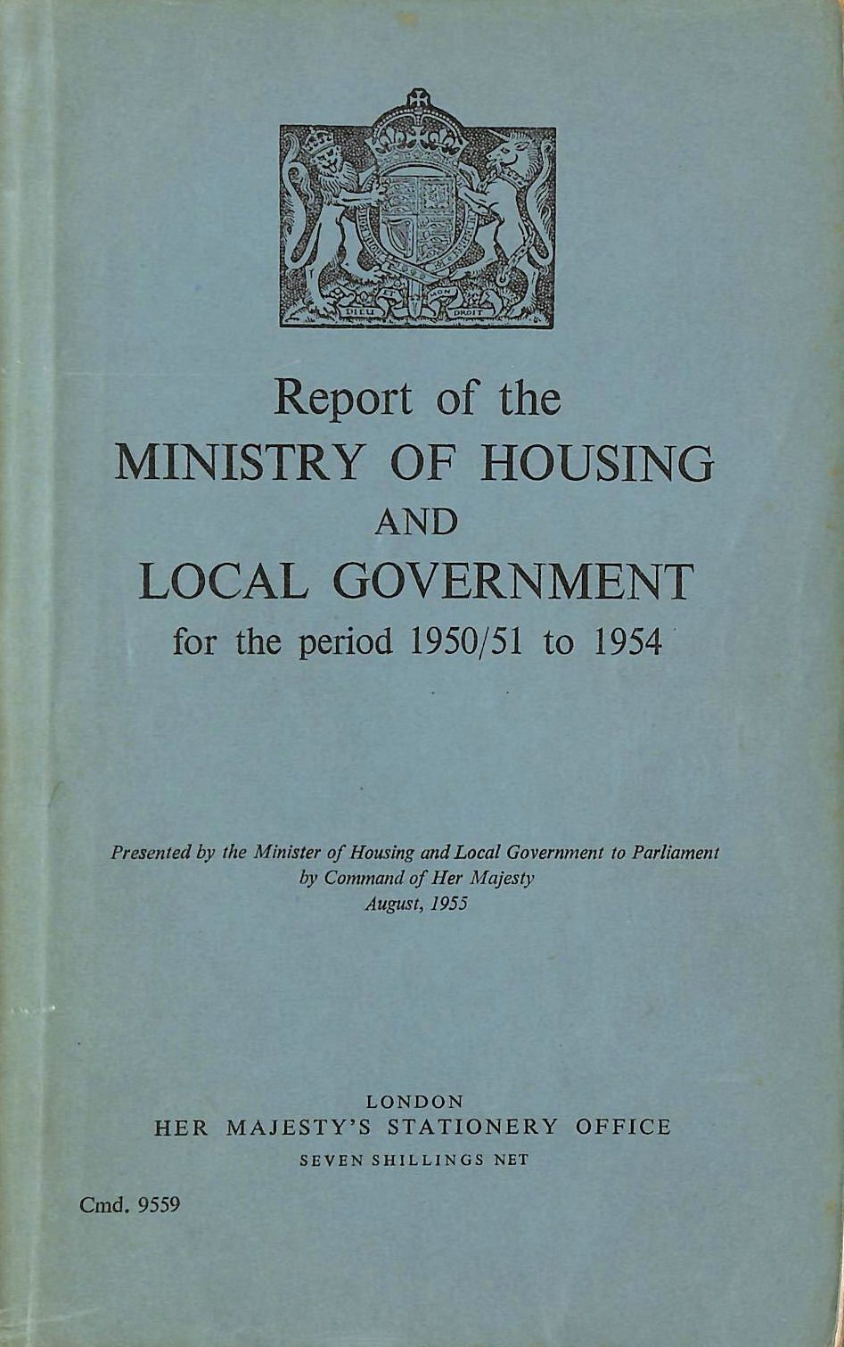 Image for Report of the Ministry of Housing and Local Government 1950 / 51 to 1954