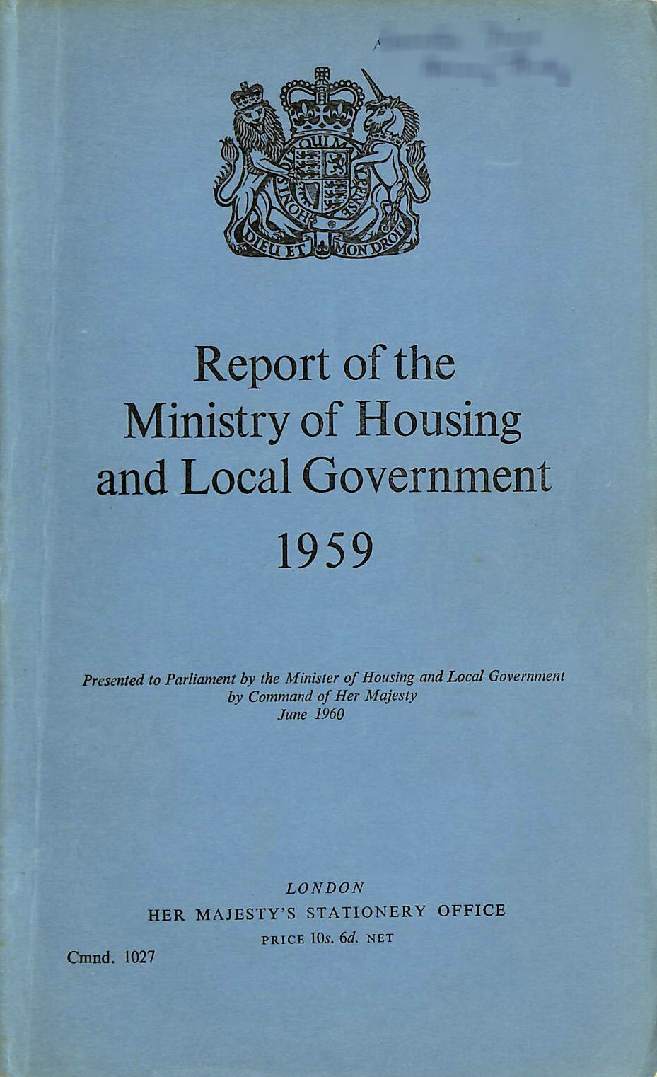 Image for Report of the Ministry of Housing and Local Government 1959