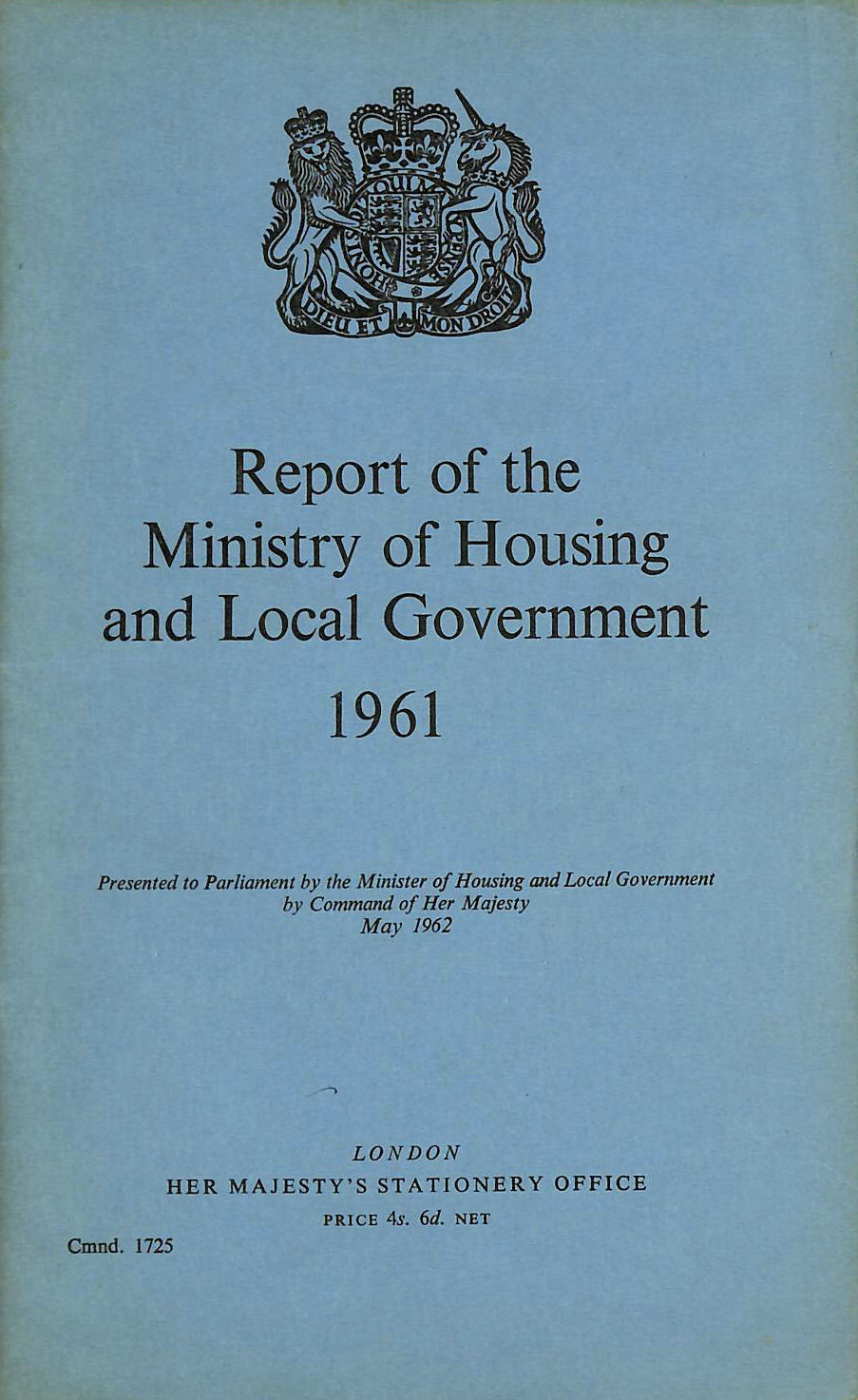 Image for Report of the Ministry of Housing and Local Government 1961