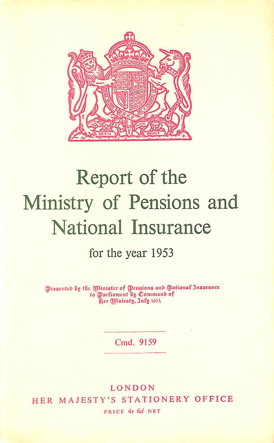 Image for Report of the Ministry of Pensions and National Insurance 1953