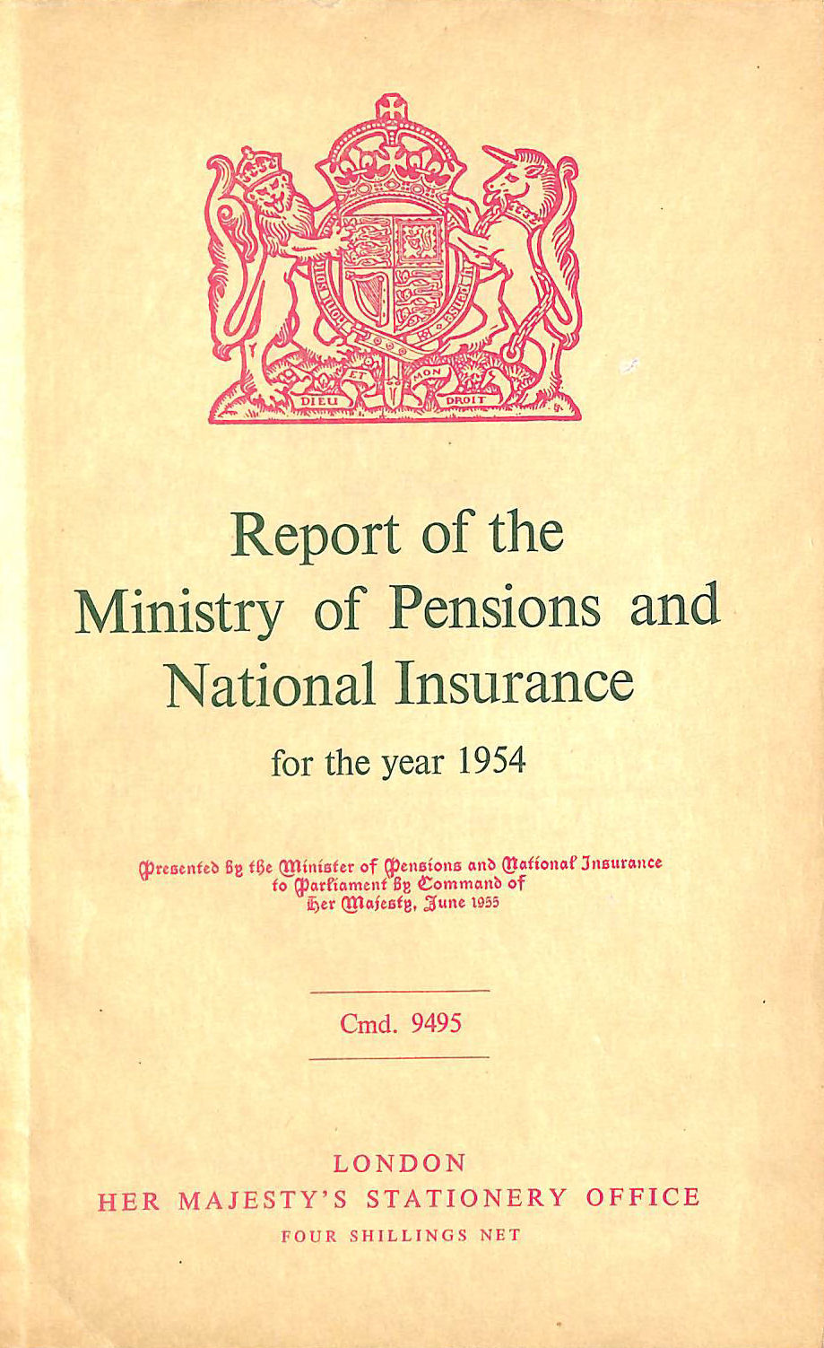 Image for Report of the Ministry of Pensions and National Insurance 1954