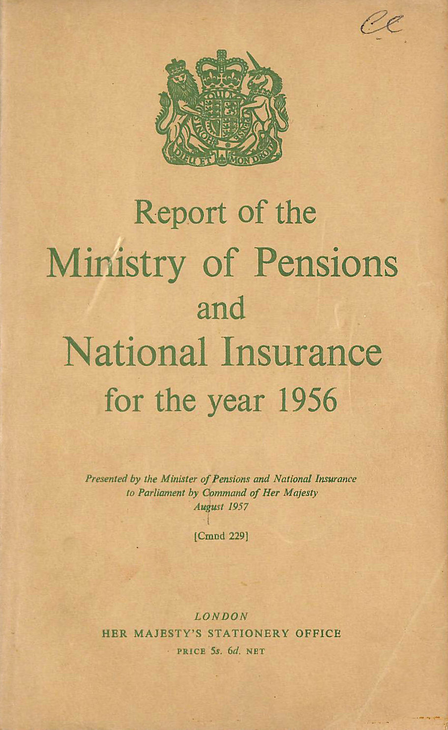 Image for Report of the Ministry of Pensions and National Insurance 1956