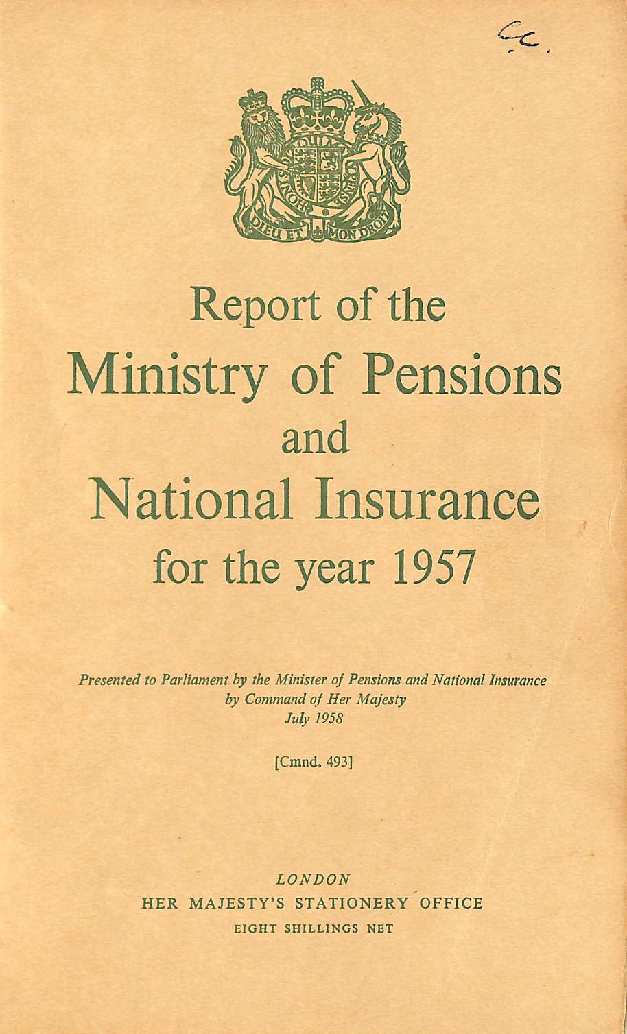 Image for Report of the Ministry of Pensions and National Insurance 1957