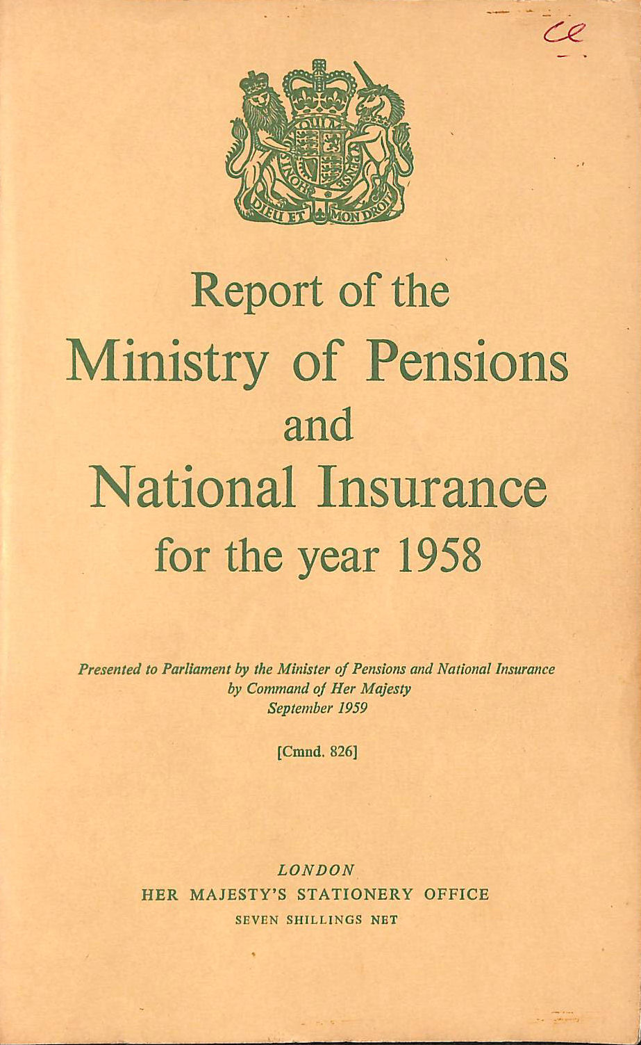 Image for Report of the Ministry of Pensions and National Insurance 1958
