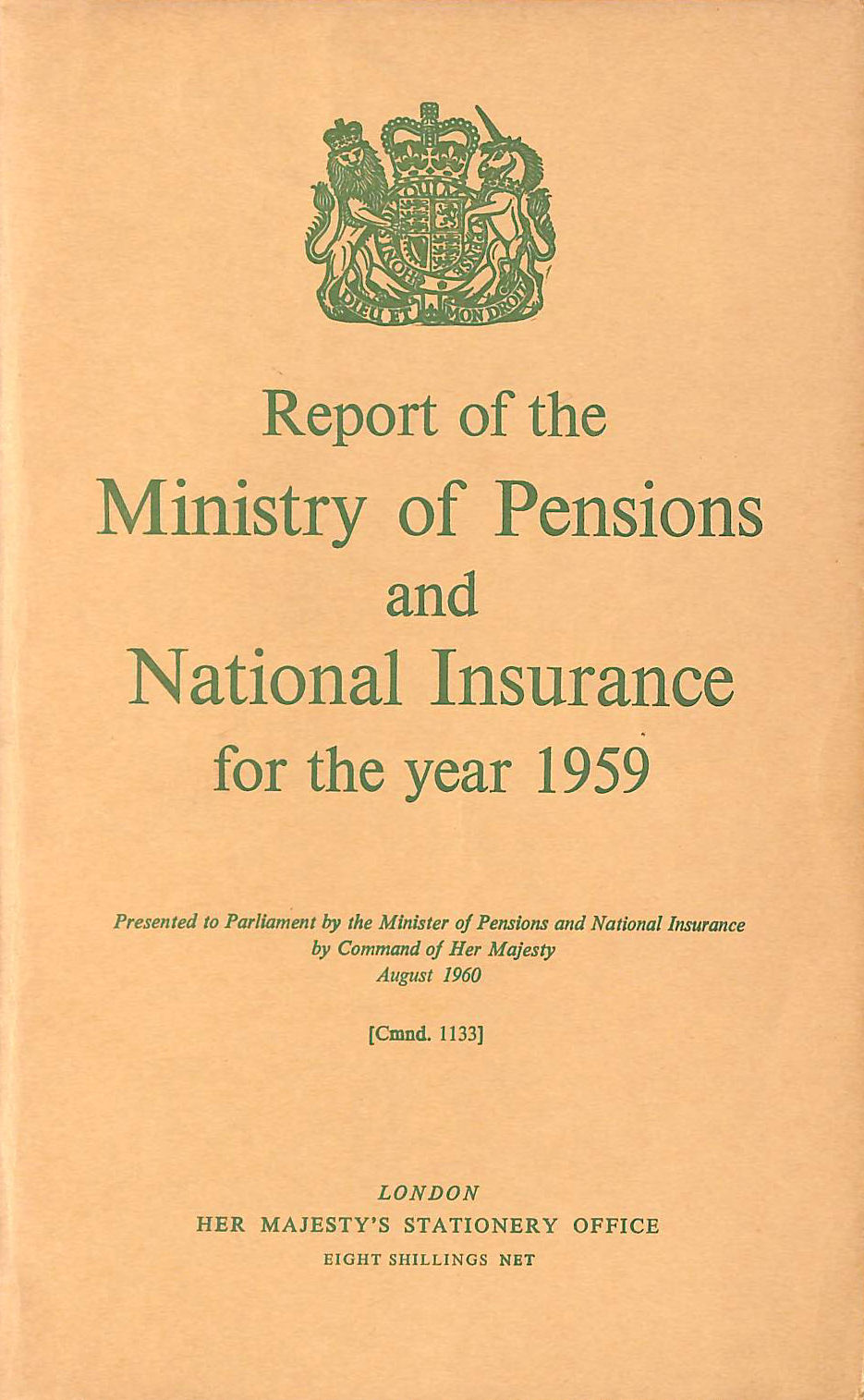 Image for Report of the Ministry of Pensions and National Insurance 1959