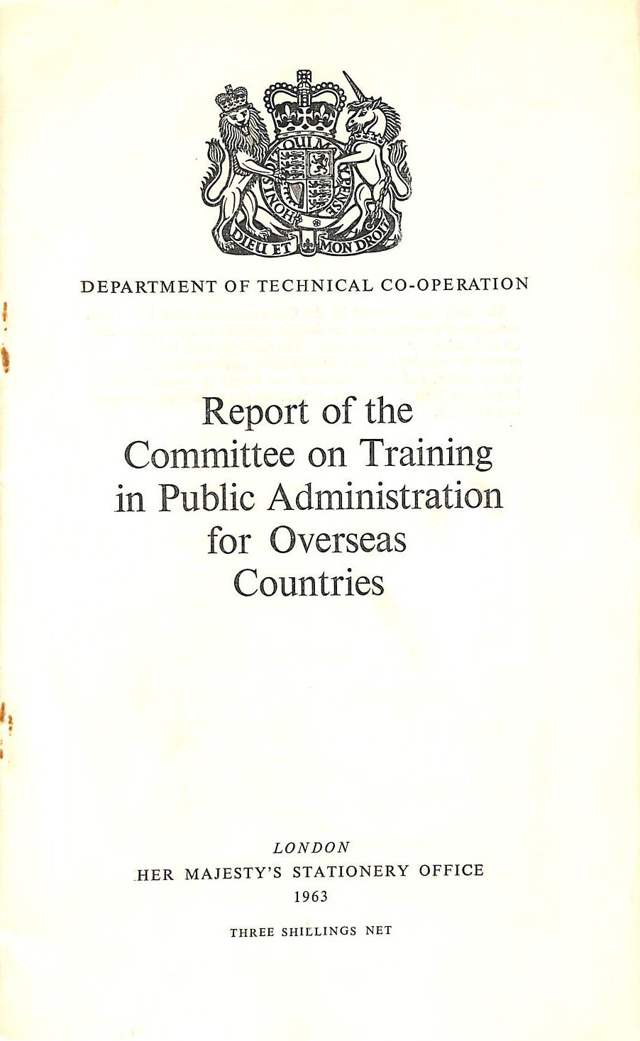 Image for Report of the Committee on Training in Public Administration for Overseas Countries