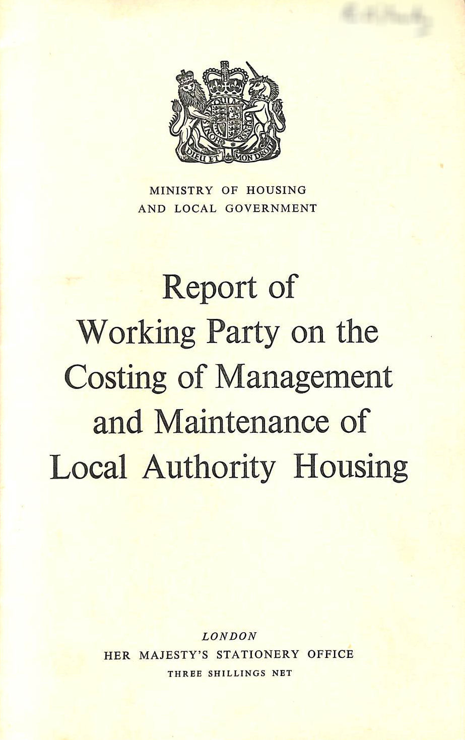 Image for Report of Working Party on the Costing of Management and Maintenance of Local Authority Housing