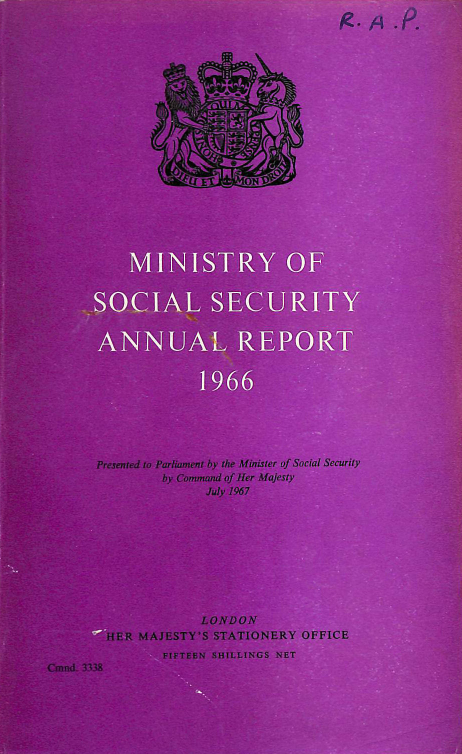Image for Ministry of Social Security Annual Report 1966