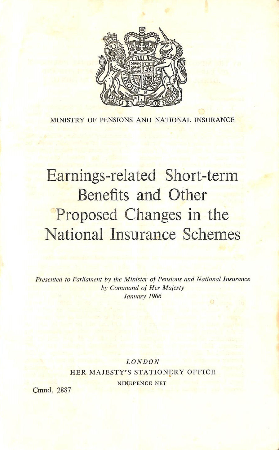 Image for Earnings-related Short-term Benefits and Other Proposed Changes in the National Insurance Schemes