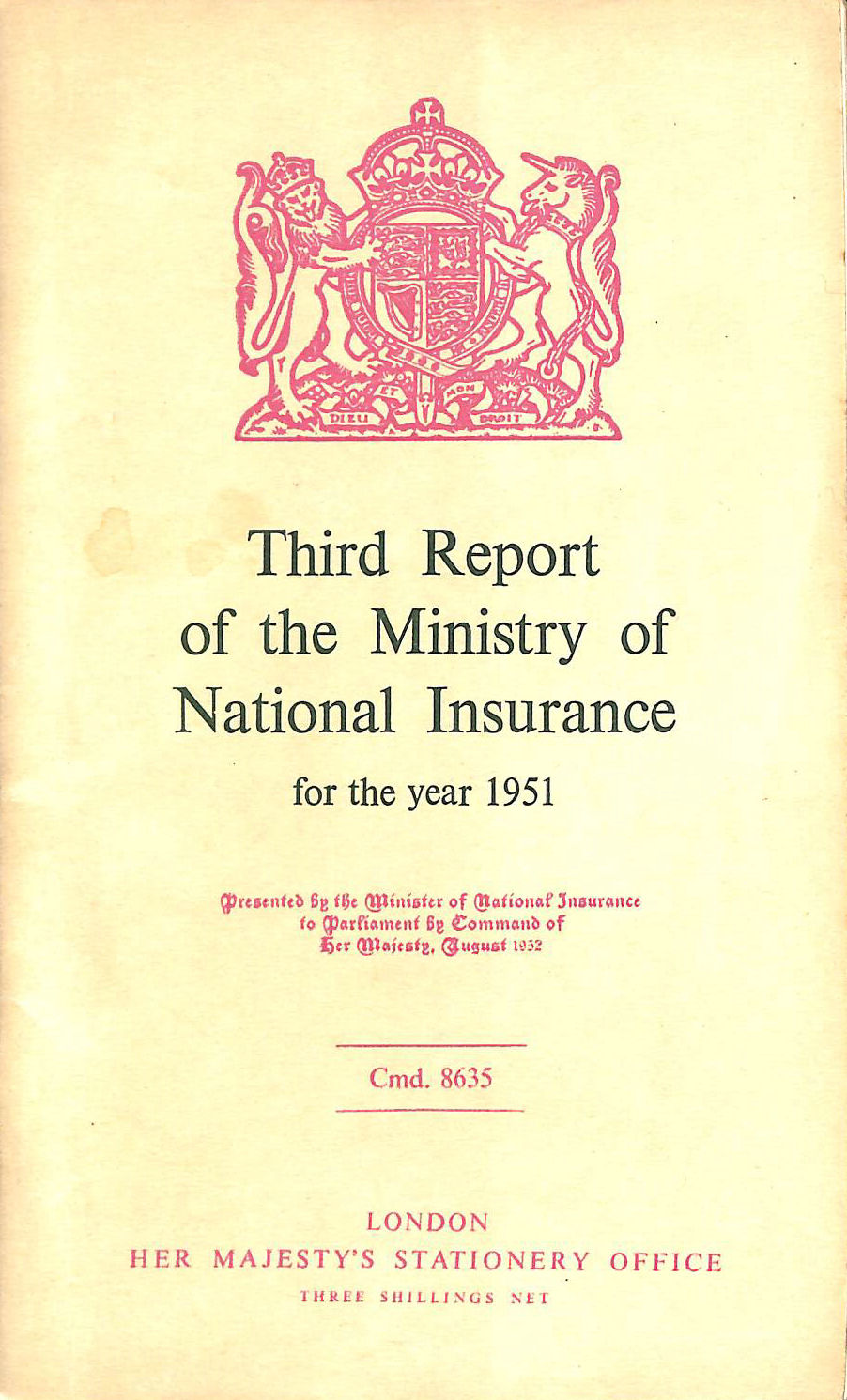 Image for Third Report of the Ministry of National Insurance 1951