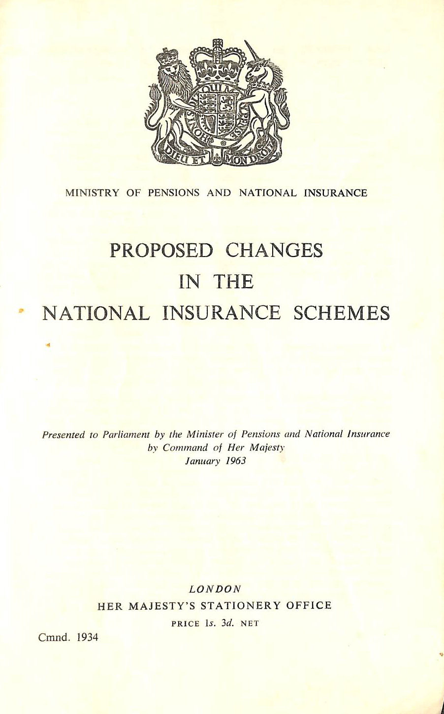 Image for Proposed Changes in the National Insurance Schemes