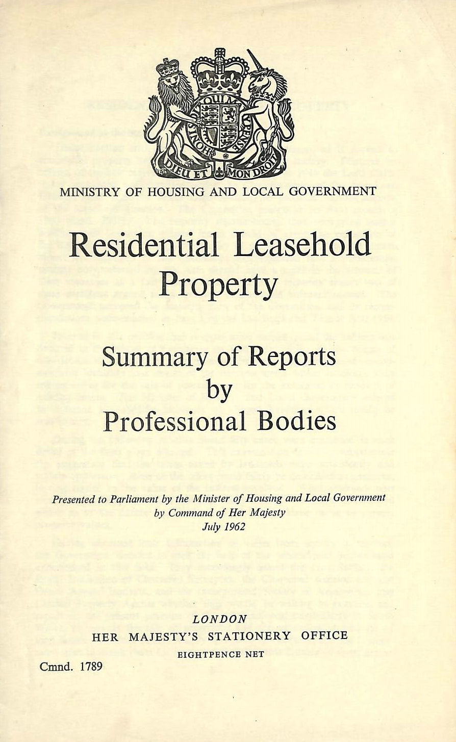 Image for Residential Leasehold Property. Summary of reports by professional bodies, etc