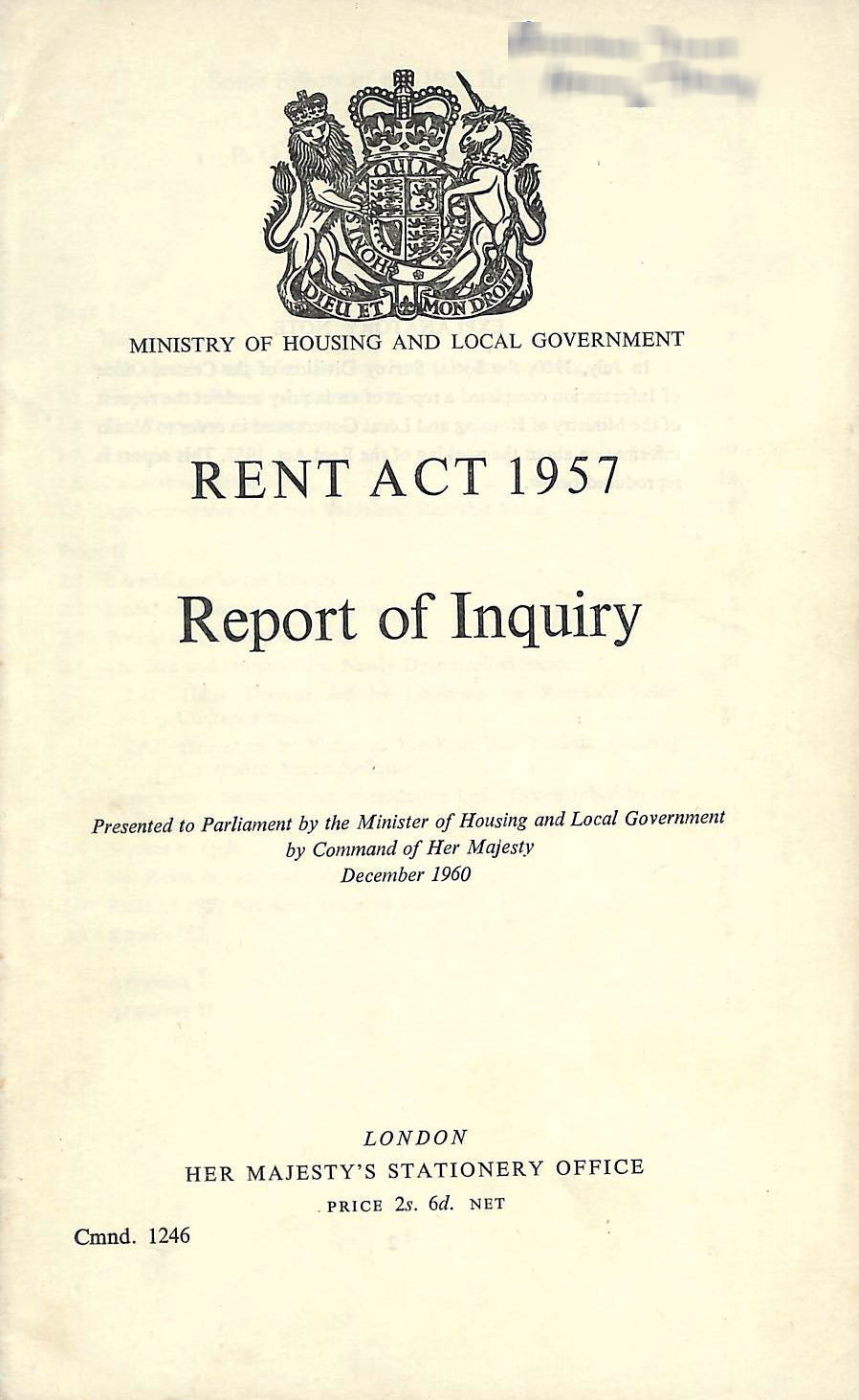 Image for Rent Act 1957, Report of Inquiry