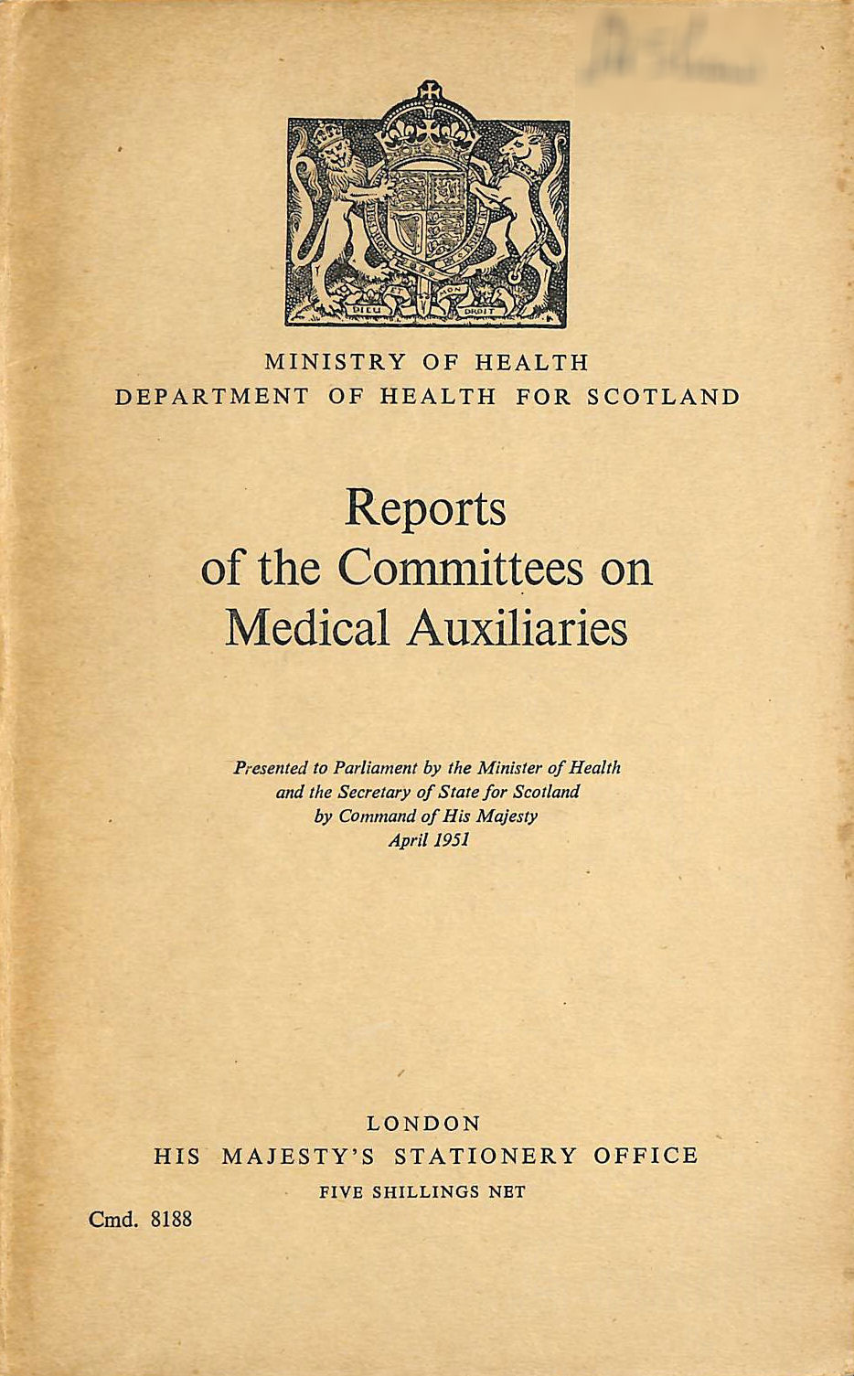 Image for Reports of the Committees on Medical Auxiliaries
