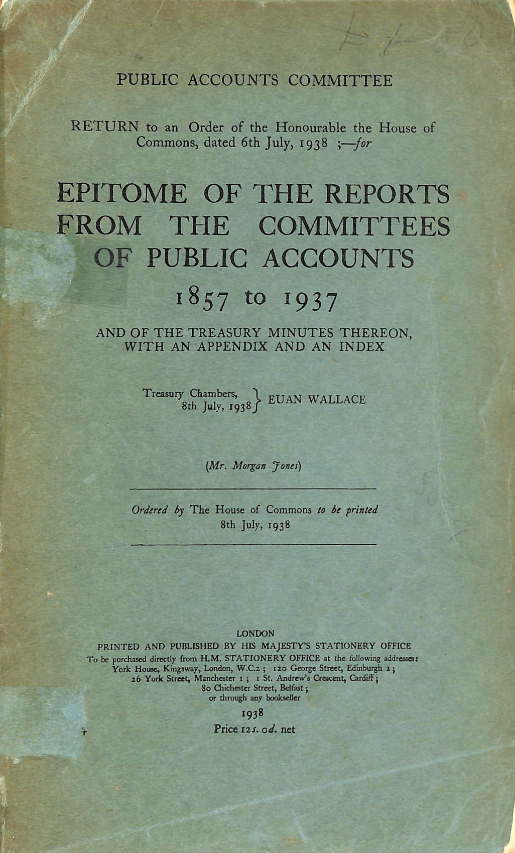 Image for Epitome Of The Reports From The Committees Of Public Accounts 1857 to 1937