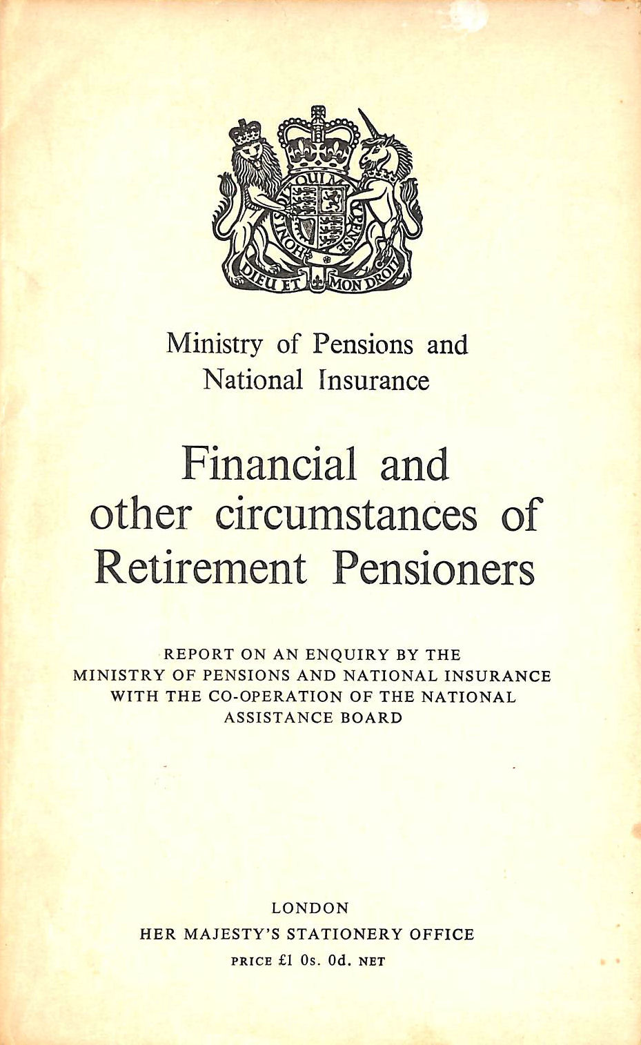 Image for FINANCIAL and OTHER CIRCUMSTANCES OF RETIREMENT PENSIONERS