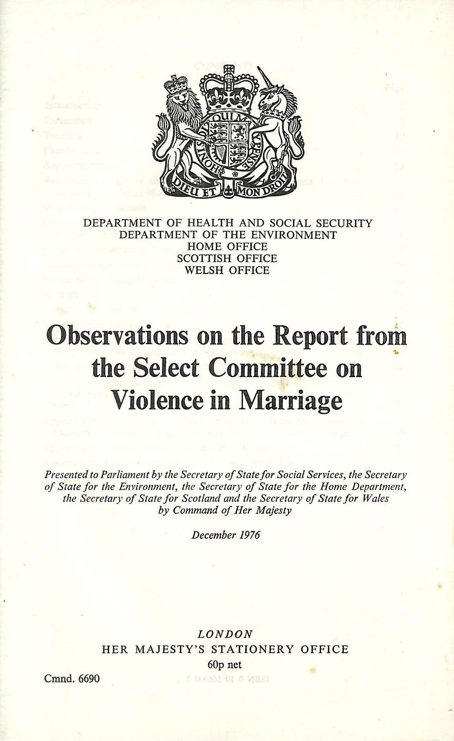 Image for Observations on the report from the Select Committee on Violence in Marriage (Cmnd.6690)