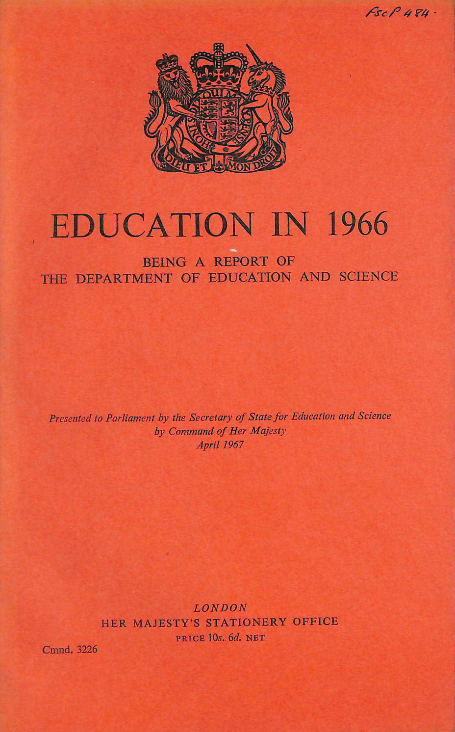 Image for Education in 1966: Being a Report of the Department of Education and Science.