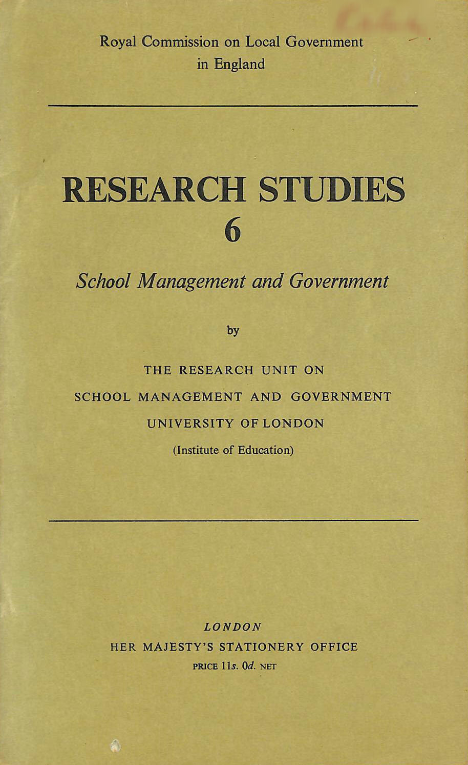 Image for Research Studies 6 School Management and Government