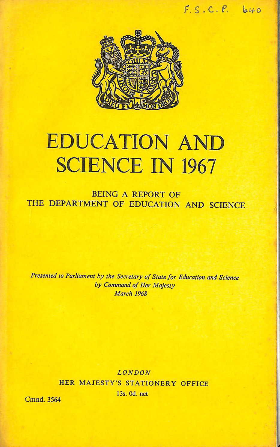 Image for Education and Science in 1967: Report