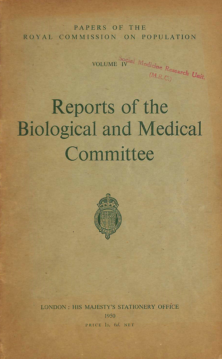 Image for Reports of the Biological and Medical Committee, Volume IV