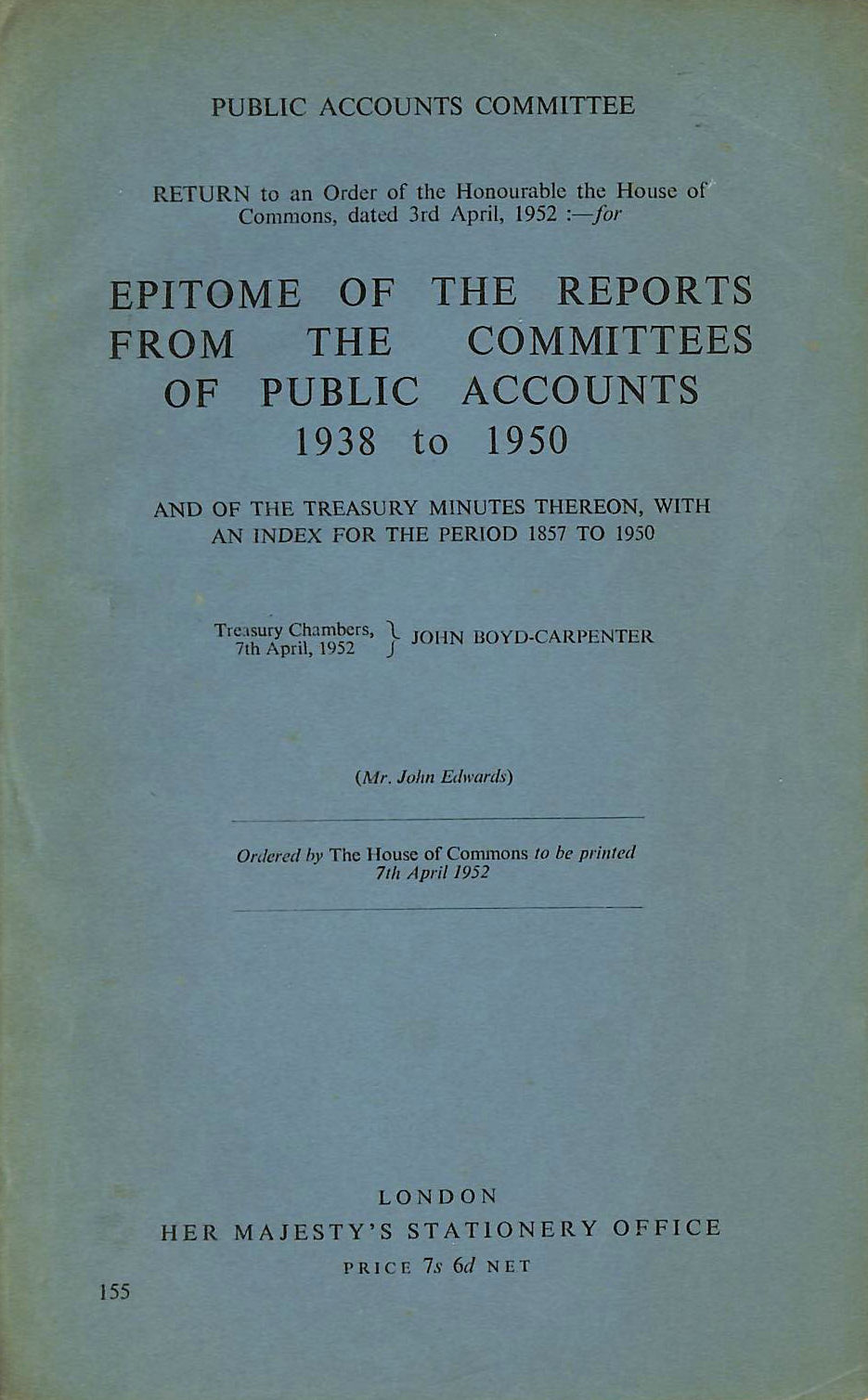 Image for Epitome of the Reports from the Committees of Public Accounts 1938 to 1950