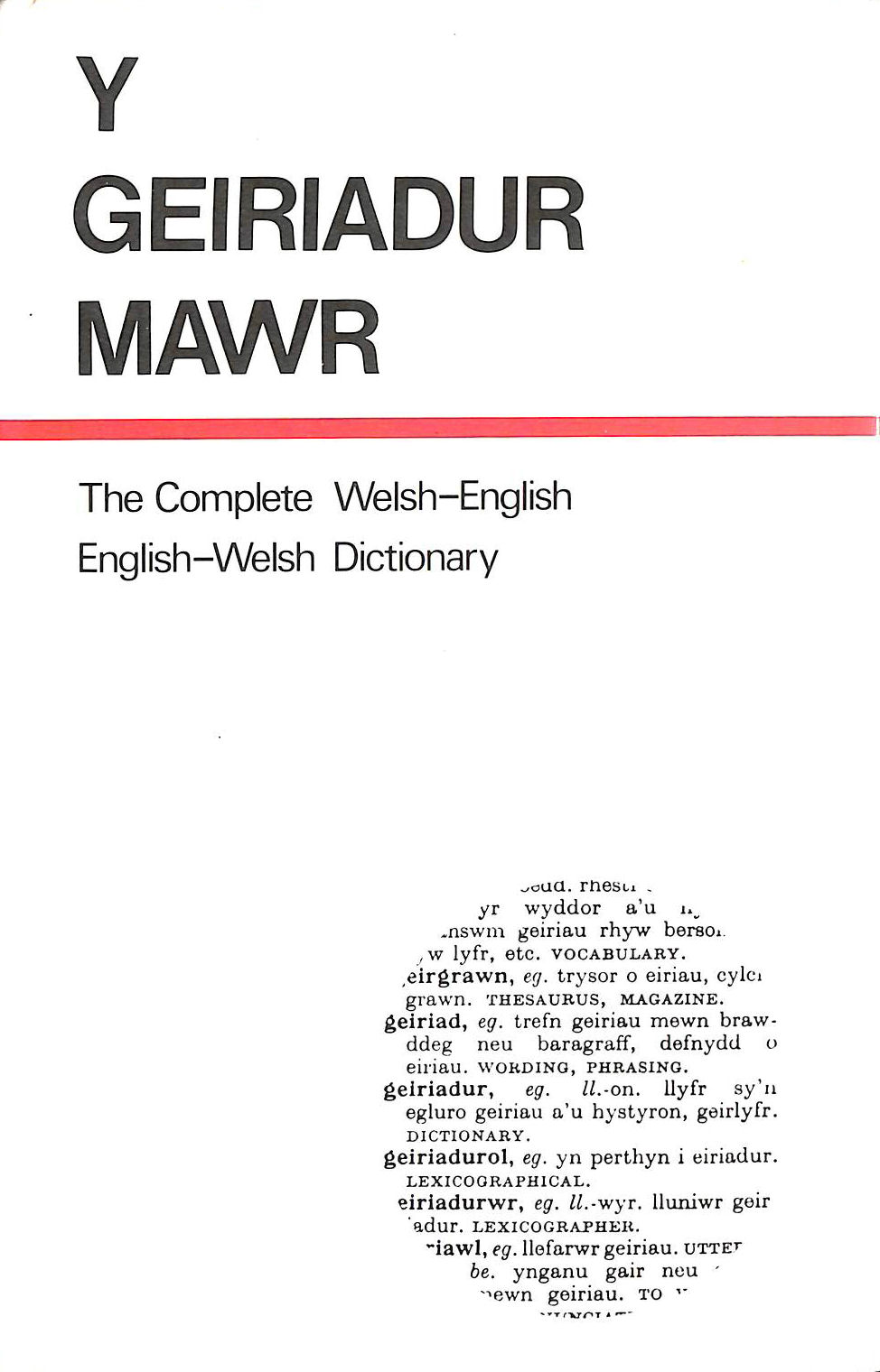 Image for Y geiriadur mowr: The complete Welsh-English, English-Welsh dictionary