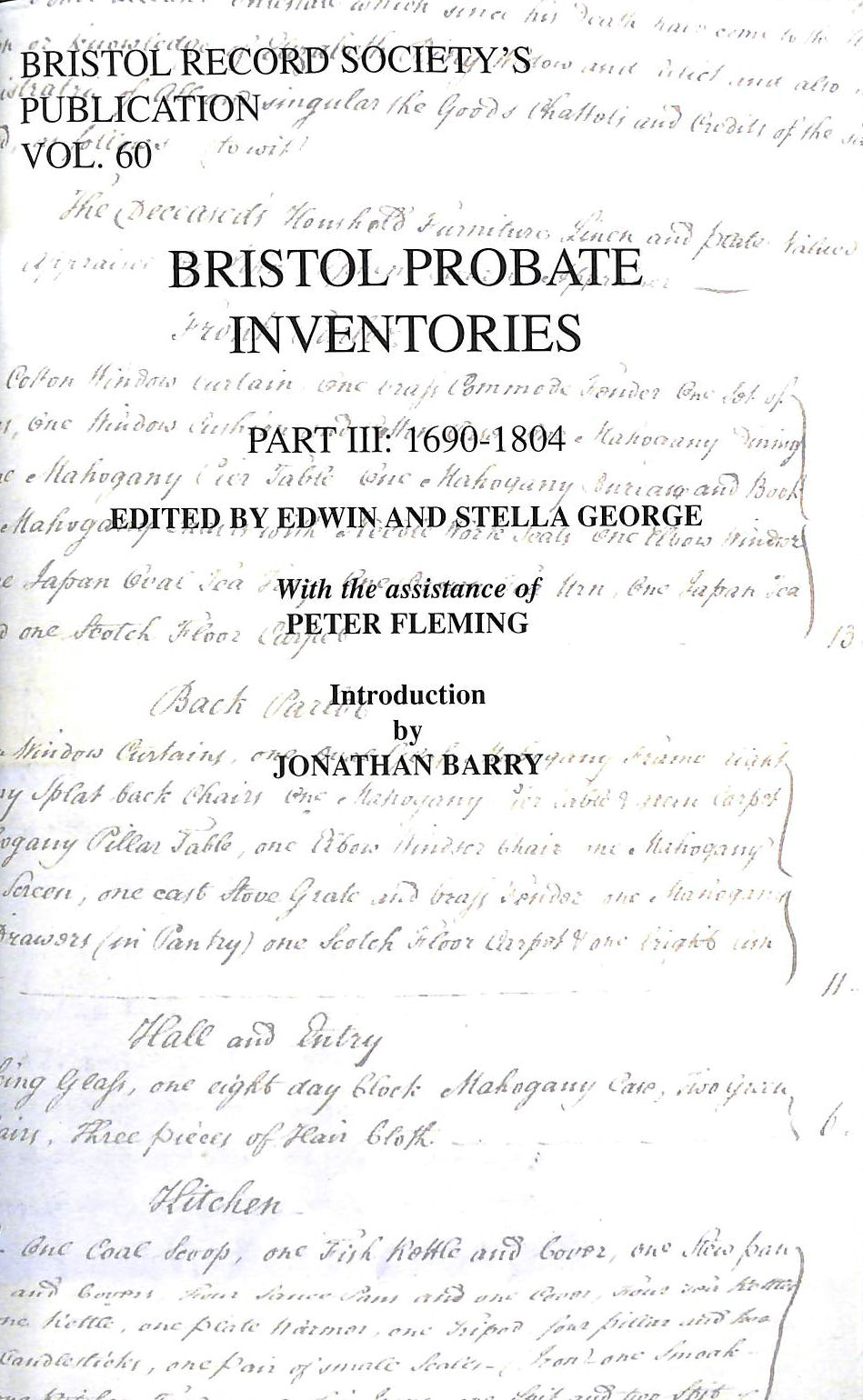 Image for Bristol Probate Inventories: Part III: 1690-1804 (Bristol Record Society)