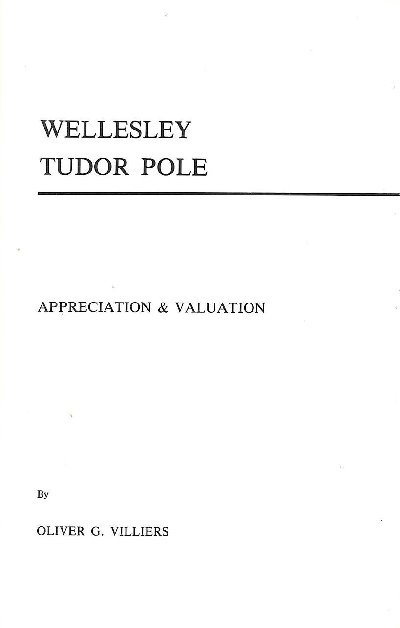 Image for Wellesley Tudor Pole - Appreciation and Valuation