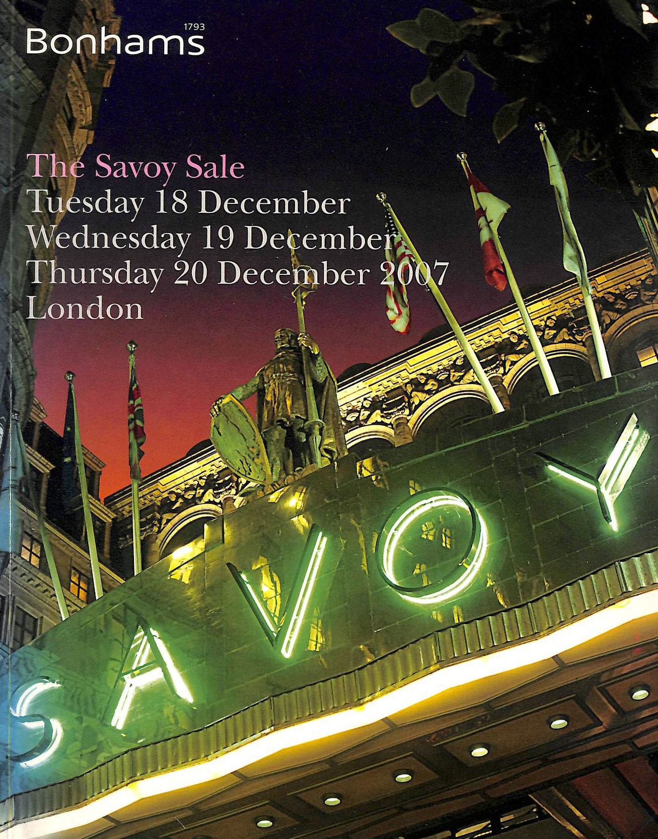 Image for The Savoy Sale: Tuesday 18 December, Wednesday 19 December, Thursday 20 December 2007, London