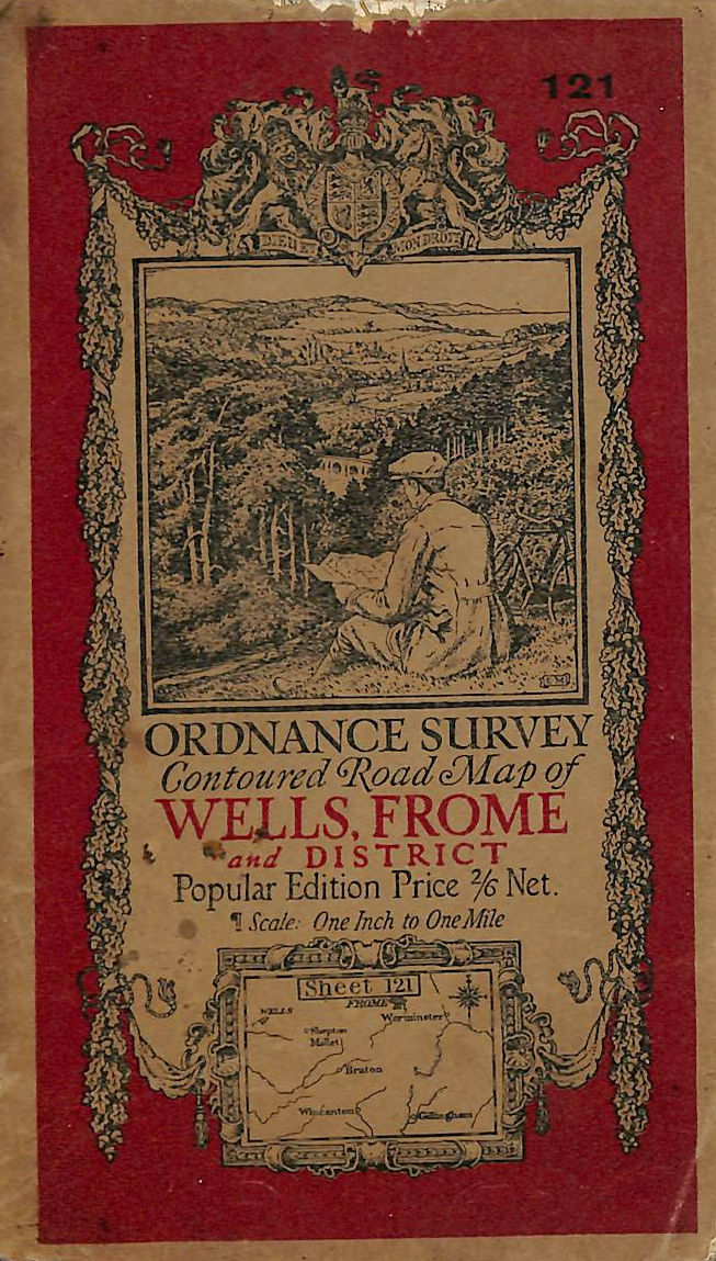 Image for Wells Frome and District: Ordnance Survey Contoured Road Maps. Sheet 121. Folded coloured map mounted on cloth. Scale one inch to one mile.