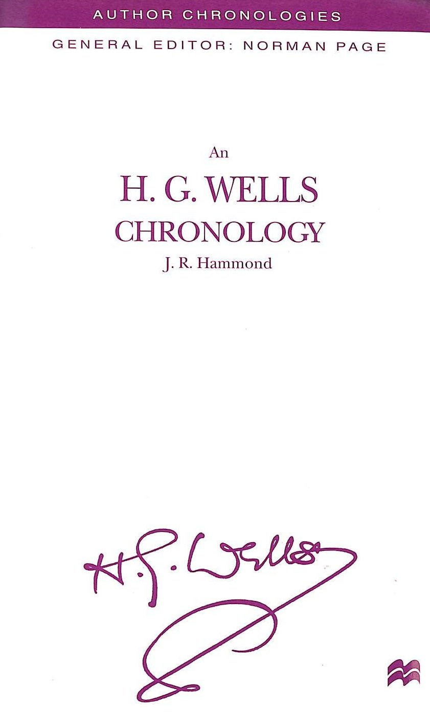 Image for An H. G. Wells Chronology (Author Chronologies Series)