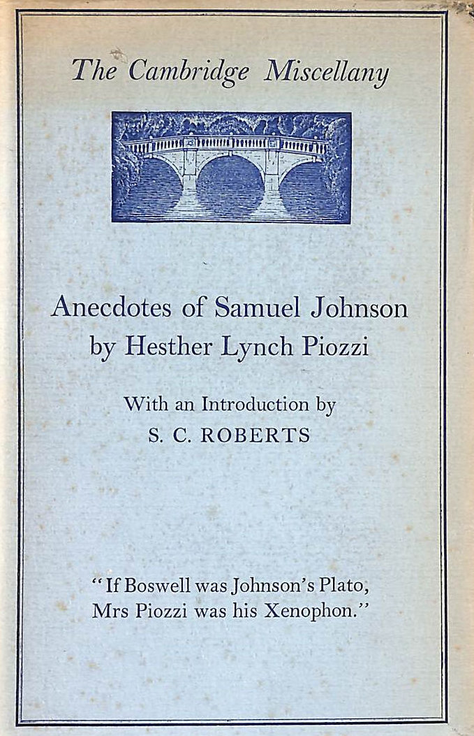 Image for Anecdotes Of Samuel Johnson, By Hester Lynch Piozzi