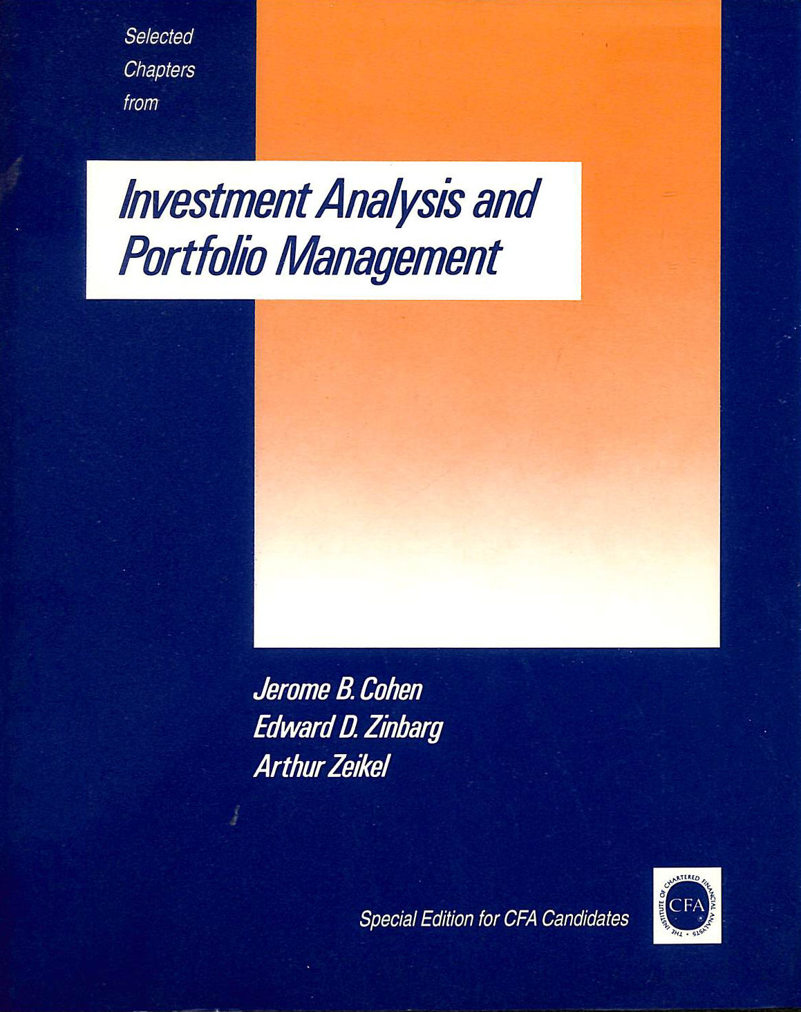 Image for Selected Chapters From Investment Analysis And Portfolio Management