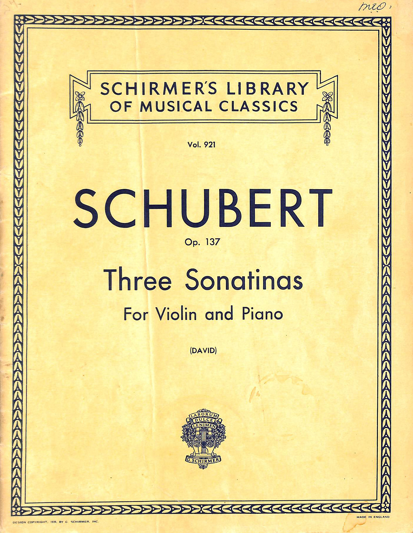 Image for Franz Schubert - Opus 137 Three Sonatinas For Violin & Piano (Schirmer's Library Of Musical Classics)