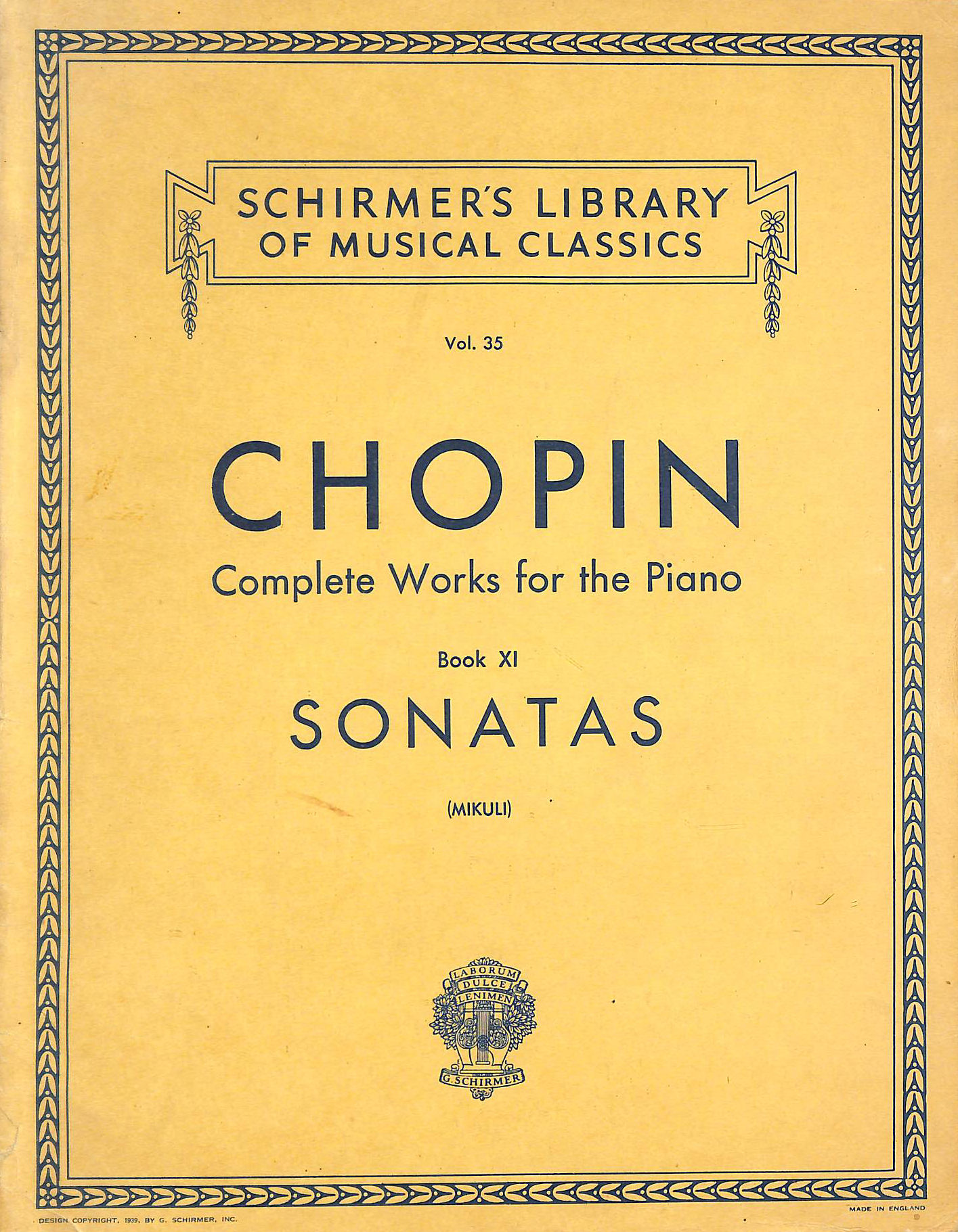 Image for Sonatas: Schirmer Library Of Classics Volume 35 Piano Solo (Schirmer Library Of Musical Classics)