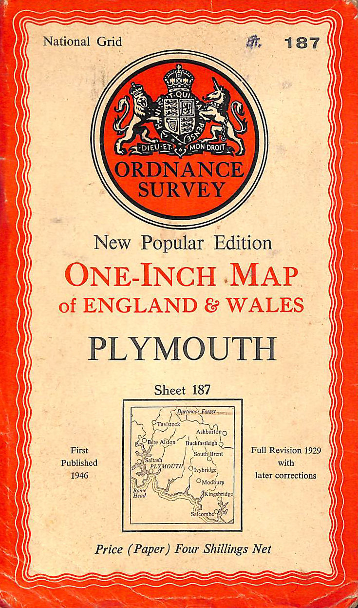 Image for Ordnance Survey One-Inch Map Of England And Wales. Plymouth. New Popular Edition. Sheet 187 (Ordnance Survey One-Inch Map Of England And Wales)