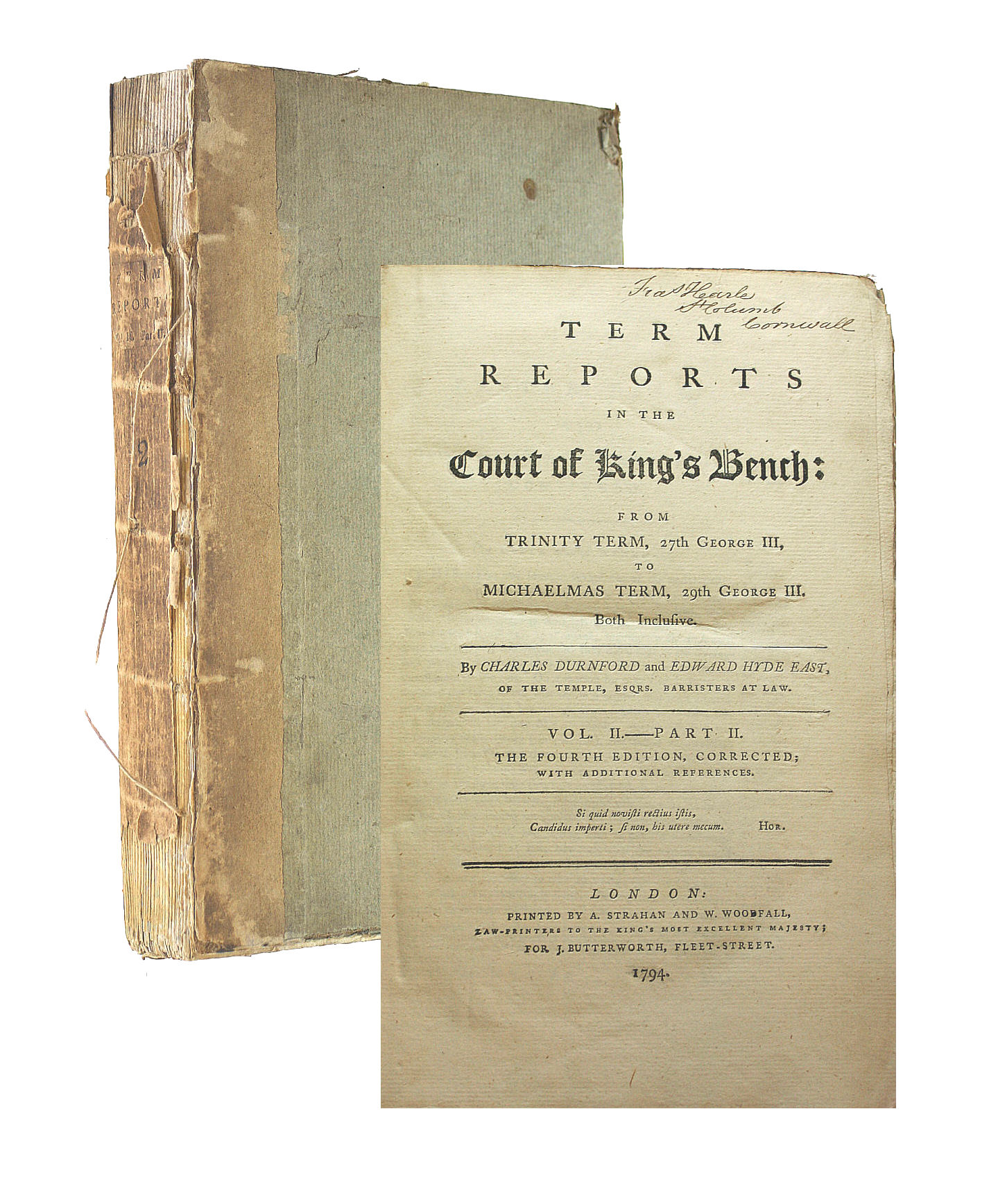 Image for Term Reports In The Court Of King's Bench From Trinity Term, 27Th George Iii To Michaelmas Term, 29Th George Iii: Vol. Ii The Fourth Edition, Corrected